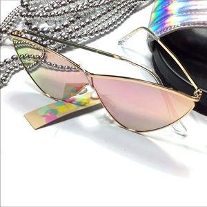 Cateye Rose mirrored lenses gold frame sunglasses